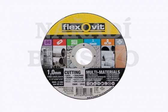 Řezný kotouč 125x1,6x22,23 C60R MARCHANDISING MULTI-PURPOSE na ocel, PVC, kámen, nerez a dlažbu Flexovit